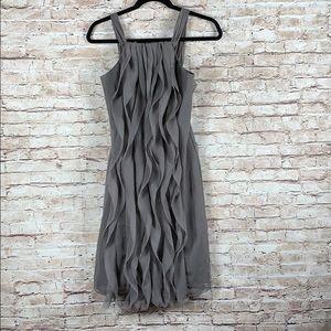 White By Vera Wang Sleeveless Ruffle Dress Gray